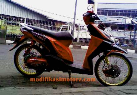 modifikasi motor beat karbu warna hitam 2