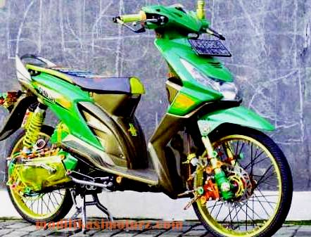 modifikasi motor honda beat airbrush hijau