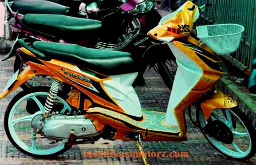 modifikasi motor honda beat airbrush kuning