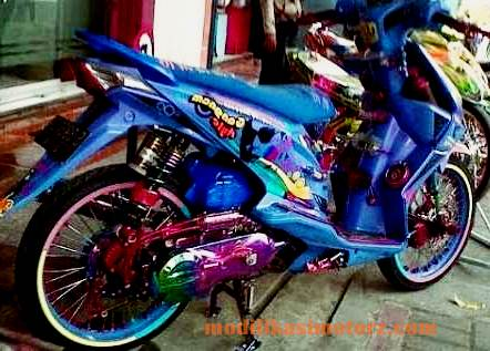modifikasi motor honda beat airbrush ungu